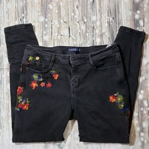 Zara Basic Embroidered Skinny Jeans Size 8